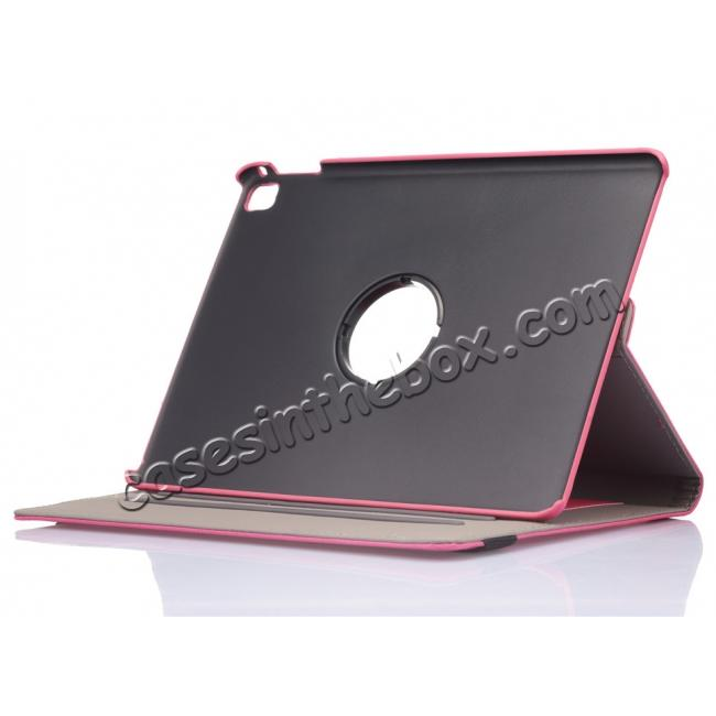 best price 360 Degree Rotating Folio Jeans Cloth Skin PU Leather Case for 9.7-inch iPad Pro - Hot Pink