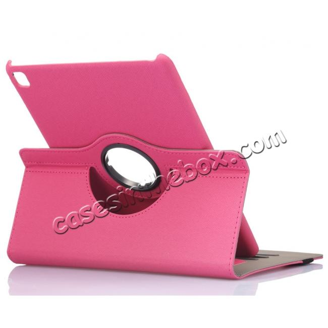 wholesale 360 Degree Rotating Folio Jeans Cloth Skin PU Leather Case for 9.7-inch iPad Pro - Hot Pink