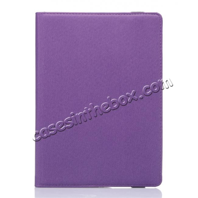 discount 360 Degree Rotating Folio Jeans Cloth Skin PU Leather Case for 9.7-inch iPad Pro - Purple