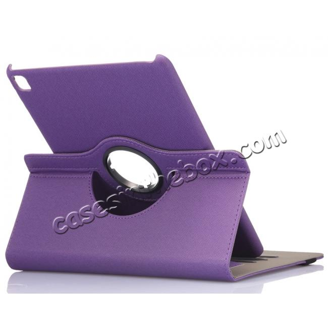 wholesale 360 Degree Rotating Folio Jeans Cloth Skin PU Leather Case for 9.7-inch iPad Pro - Purple