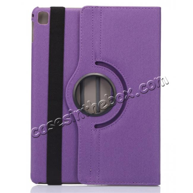 best price 360 Degree Rotating Folio Jeans Cloth Skin PU Leather Case for 9.7-inch iPad Pro - Purple