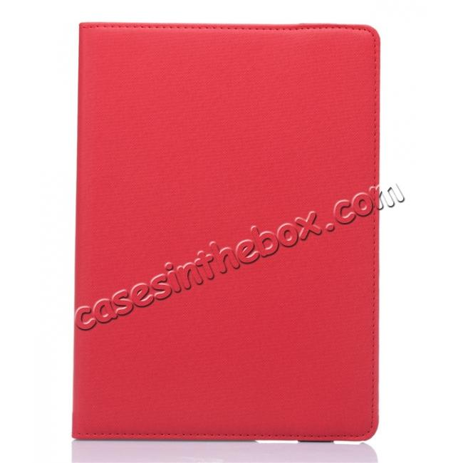 cheap 360 Degree Rotating Folio Jeans Cloth Skin PU Leather Case for 9.7-inch iPad Pro - Red
