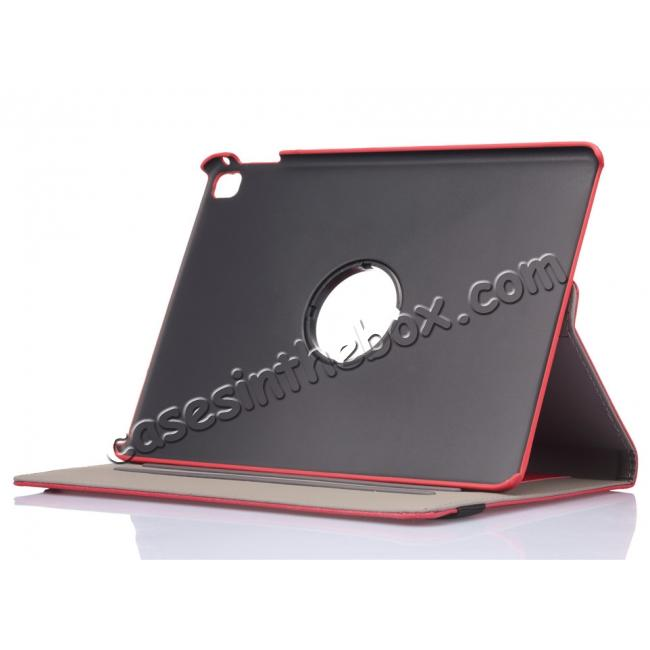 best price 360 Degree Rotating Folio Jeans Cloth Skin PU Leather Case for 9.7-inch iPad Pro - Red