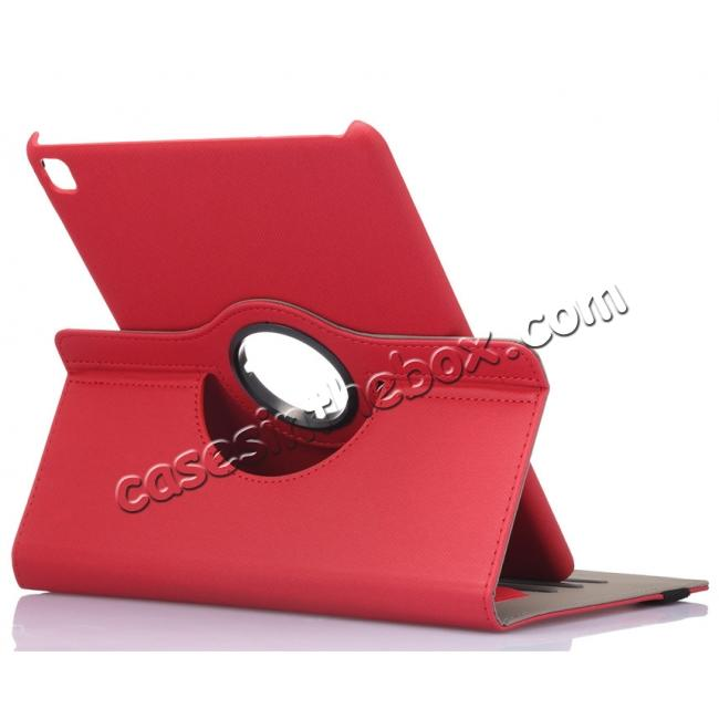 wholesale 360 Degree Rotating Folio Jeans Cloth Skin PU Leather Case for 9.7-inch iPad Pro - Red