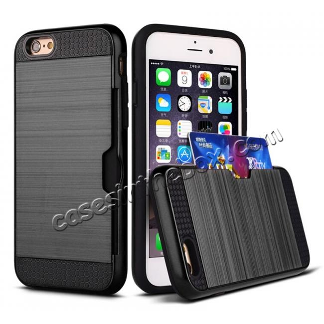 wholesale Brushed Texture Hybrid Dual Layer Armor With Card Slot Case For iPhone 6 Plus/6S Plus - Black