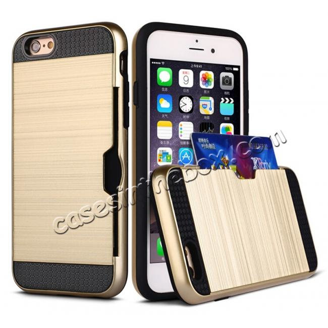 wholesale Brushed Texture Hybrid Dual Layer Armor With Card Slot Case For iPhone 6 Plus/6S Plus - Gold