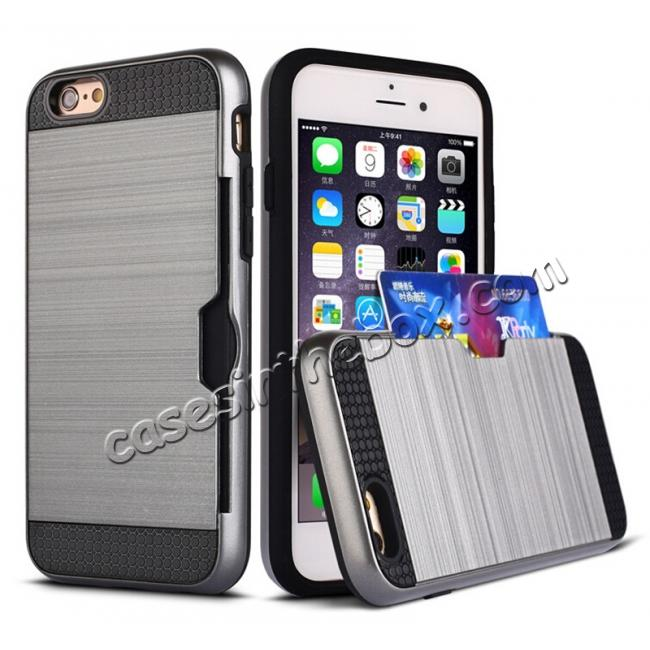 wholesale Brushed Texture Hybrid Dual Layer Armor With Card Slot Case For iPhone 6 Plus/6S Plus - Gray