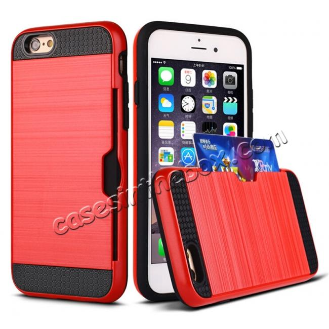 wholesale Brushed Texture Hybrid Dual Layer Armor With Card Slot Case For iPhone 6 Plus/6S Plus - Red