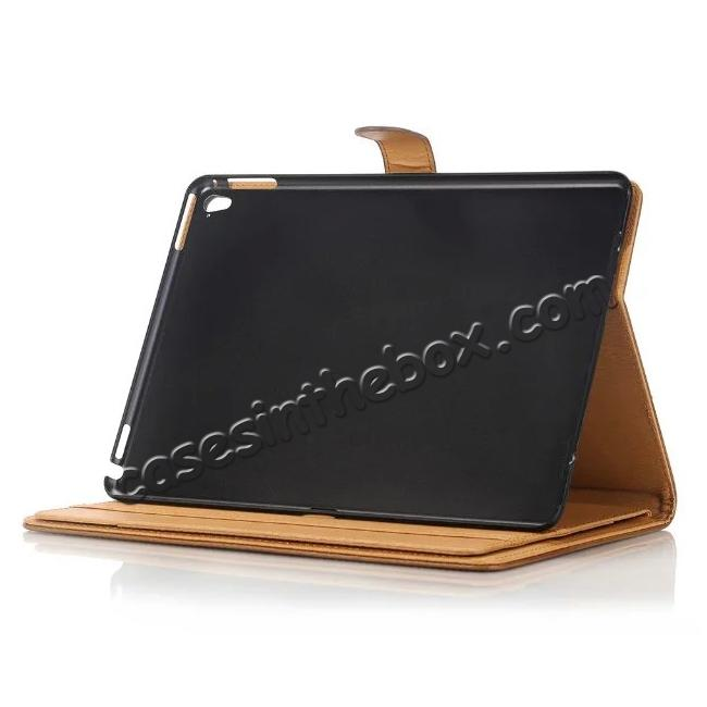 top quality Crazy Horse Dual Layer Credit Card Holder Wallet PU Leather Stand Case for 9.7-inch iPad Pro - Coffee
