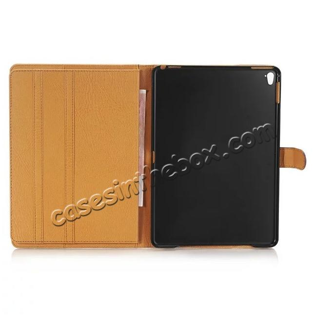 best price Crazy Horse Dual Layer Credit Card Holder Wallet PU Leather Stand Case for 9.7-inch iPad Pro - Coffee