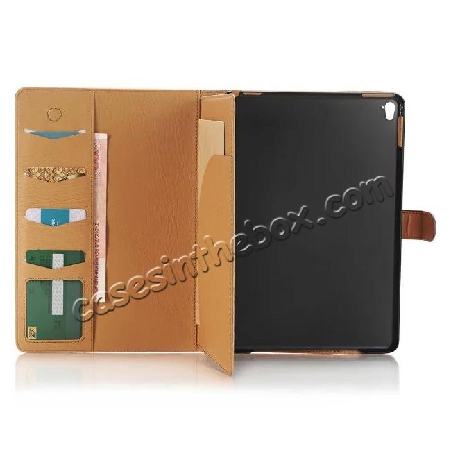 on sale Crazy Horse Dual Layer Credit Card Holder Wallet PU Leather Stand Case for 9.7-inch iPad Pro - Coffee
