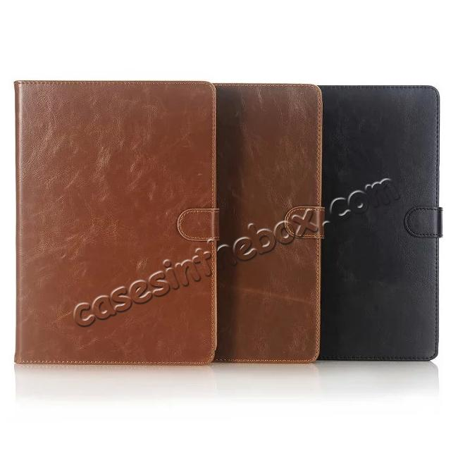 low price Crazy Horse Dual Layer Credit Card Holder Wallet PU Leather Stand Case for 9.7-inch iPad Pro - Coffee