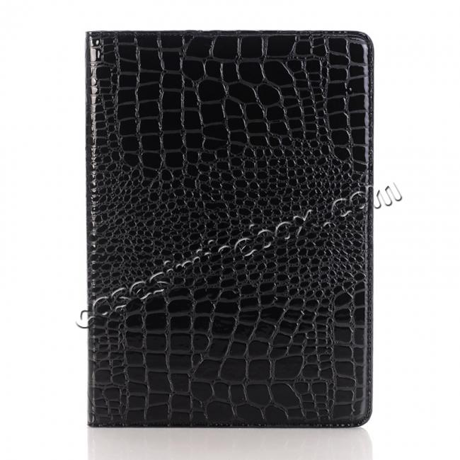 discount Crocodile Texture Magnetic Flip Stand Leather Case for 9.7-inch iPad Pro - Black