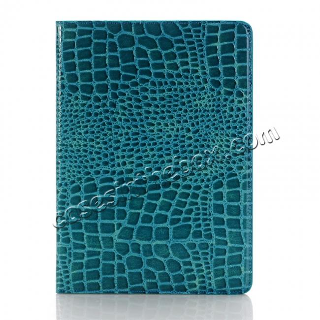 discount Crocodile Texture Magnetic Flip Stand Leather Case for 9.7-inch iPad Pro - Blue