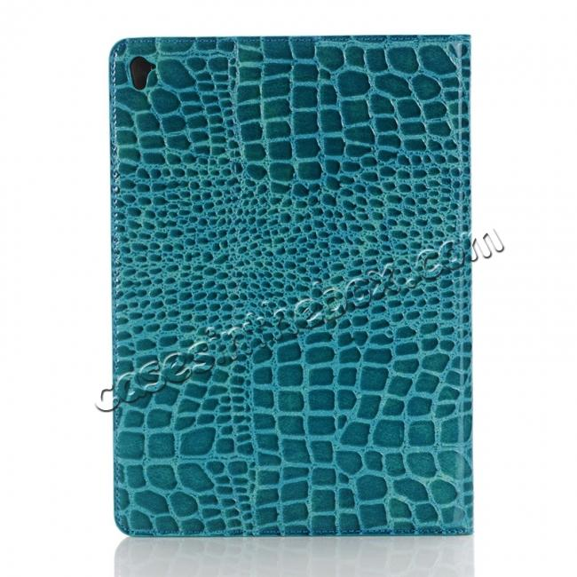 cheap Crocodile Texture Magnetic Flip Stand Leather Case for 9.7-inch iPad Pro - Blue