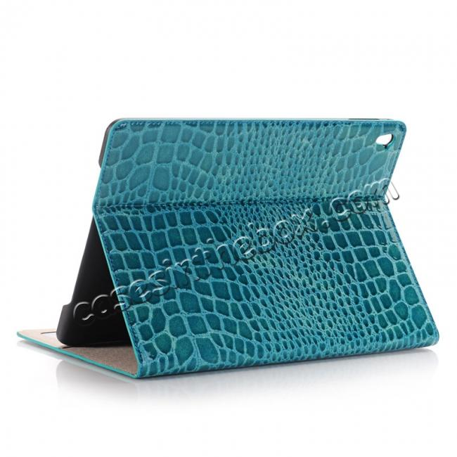 wholesale Crocodile Texture Magnetic Flip Stand Leather Case for 9.7-inch iPad Pro - Blue