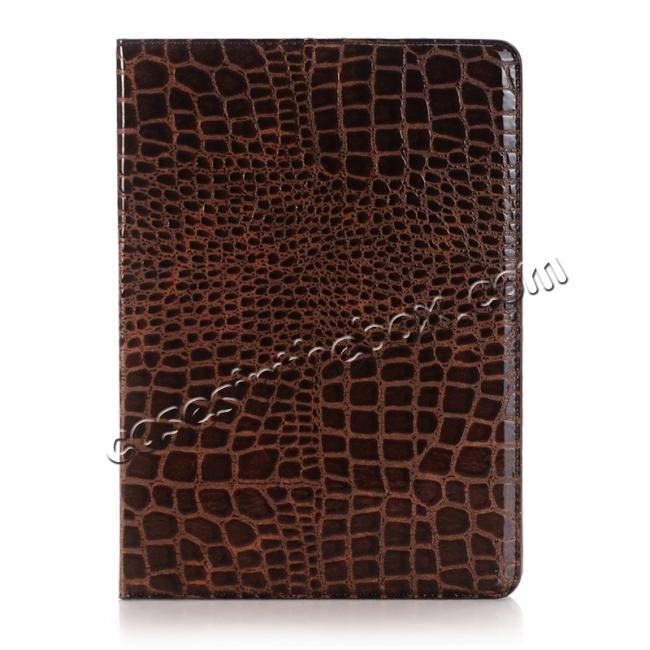 discount Crocodile Texture Magnetic Flip Stand Leather Case for 9.7-inch iPad Pro - Coffee