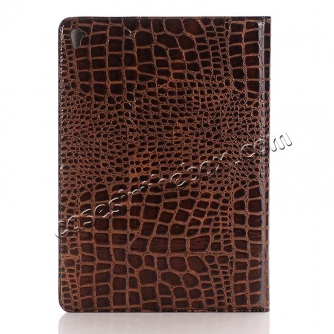 cheap Crocodile Texture Magnetic Flip Stand Leather Case for 9.7-inch iPad Pro - Coffee