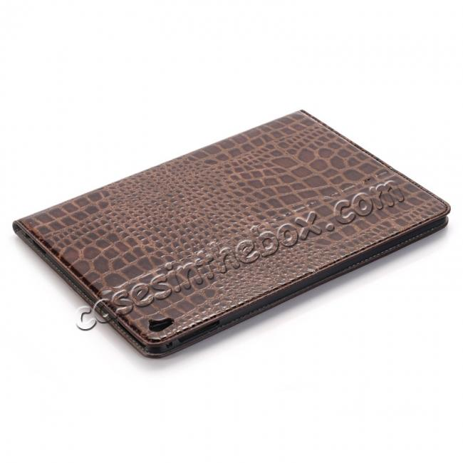 top quality Crocodile Texture Magnetic Flip Stand Leather Case for 9.7-inch iPad Pro - Coffee