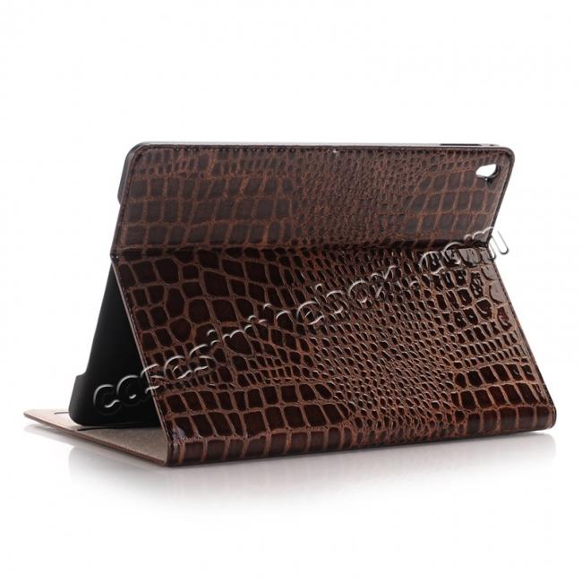 wholesale Crocodile Texture Magnetic Flip Stand Leather Case for 9.7-inch iPad Pro - Coffee