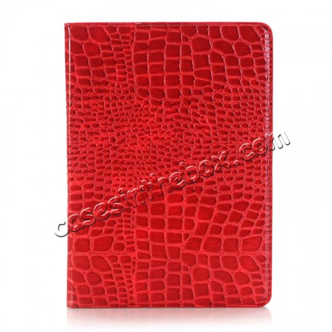 discount Crocodile Texture Magnetic Flip Stand Leather Case for 9.7-inch iPad Pro - Red