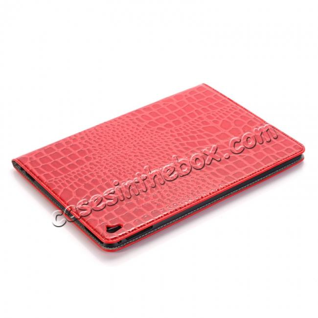 top quality Crocodile Texture Magnetic Flip Stand Leather Case for 9.7-inch iPad Pro - Red