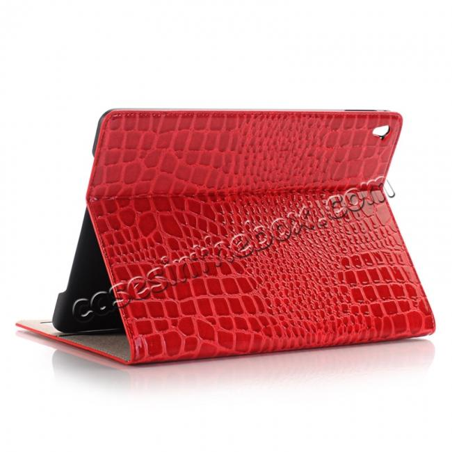wholesale Crocodile Texture Magnetic Flip Stand Leather Case for 9.7-inch iPad Pro - Red