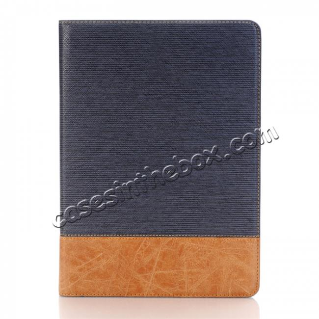 discount Cross Pattern PU Leather Flip Folio Smart Case Cover for 9.7-inch iPad Pro With Card Holders - Dark Blue