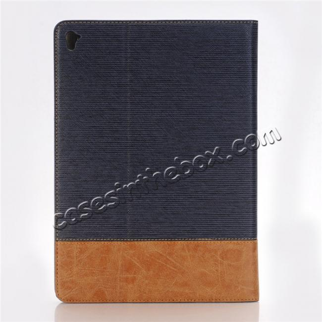 cheap Cross Pattern PU Leather Flip Folio Smart Case Cover for 9.7-inch iPad Pro With Card Holders - Dark Blue