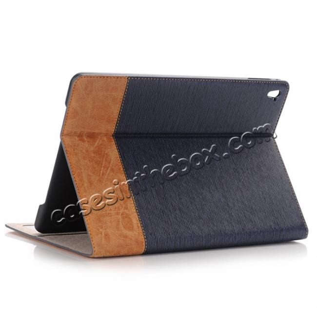 wholesale Cross Pattern PU Leather Flip Folio Smart Case Cover for 9.7-inch iPad Pro With Card Holders - Dark Blue