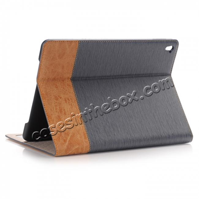 wholesale Cross Pattern PU Leather Flip Folio Smart Case Cover for 9.7-inch iPad Pro With Card Holders - Grey