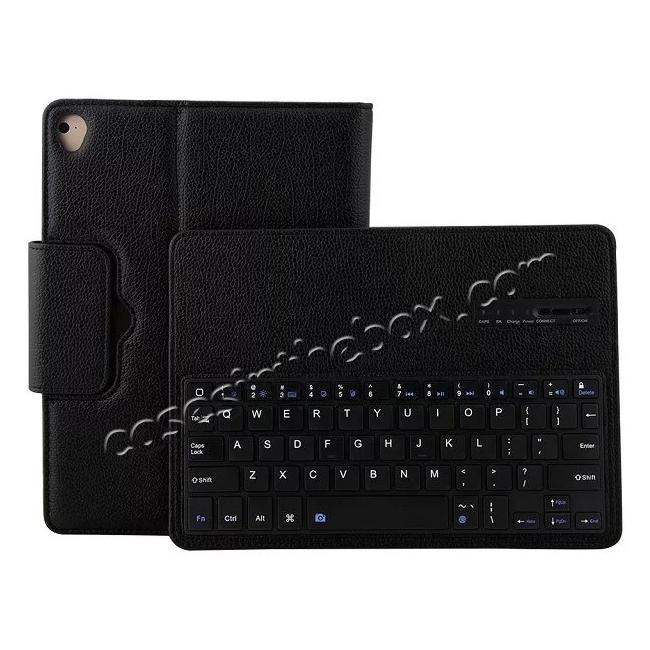 top quality Detachable Wireless Bluetooth Keyboard PU Leather Case For 9.7-inch iPad Pro - Black
