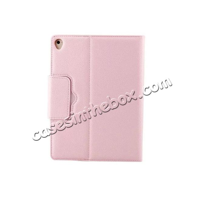 best price Detachable Wireless Bluetooth Keyboard PU Leather Case For 9.7-inch iPad Pro - Pink