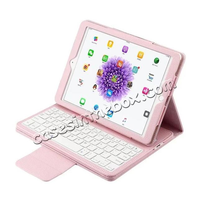 wholesale Detachable Wireless Bluetooth Keyboard PU Leather Case For 9.7-inch iPad Pro - Pink