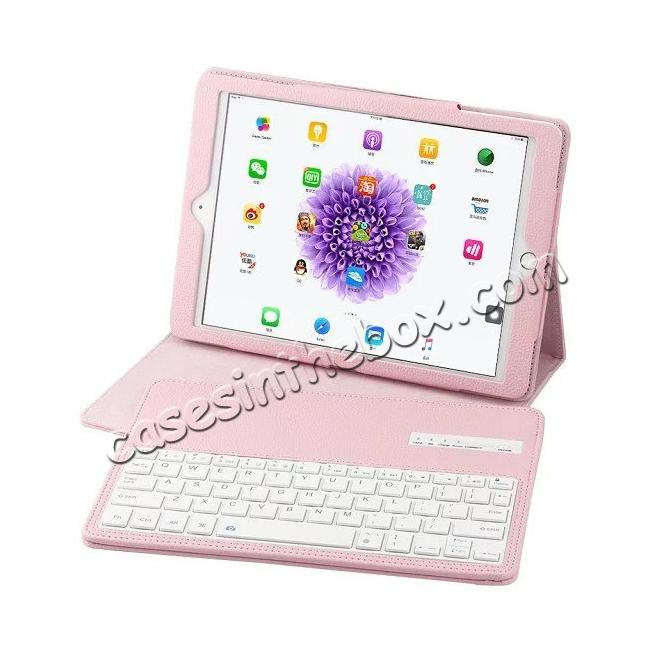 cheap Detachable Wireless Bluetooth Keyboard PU Leather Case For 9.7-inch iPad Pro - Pink