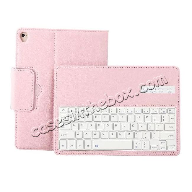 top quality Detachable Wireless Bluetooth Keyboard PU Leather Case For 9.7-inch iPad Pro - Pink