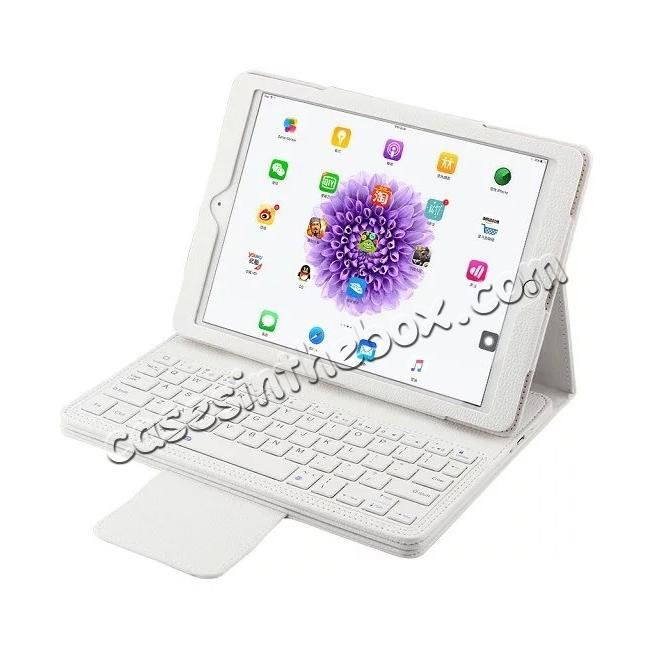 wholesale Detachable Wireless Bluetooth Keyboard PU Leather Case For 9.7-inch iPad Pro - White