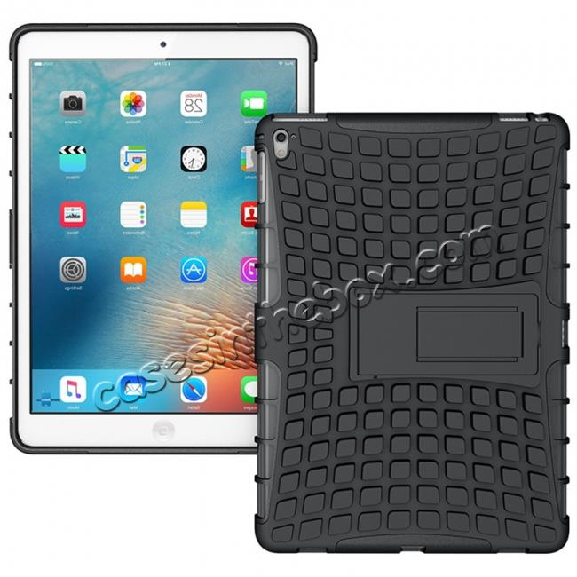 wholesale Heavy Duty Dual Layer Hybrid ShockProof Case Cover with Kickstand For iPad Pro 9.7inch - Black