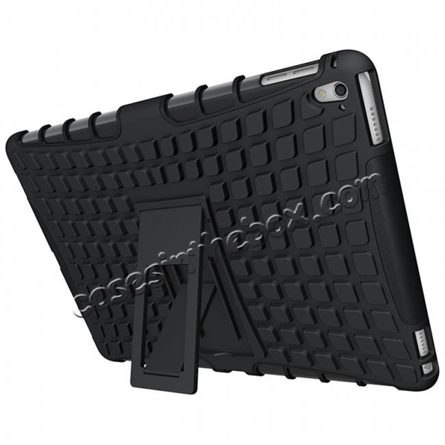 cheap Heavy Duty Dual Layer Hybrid ShockProof Case Cover with Kickstand For iPad Pro 9.7inch - Black