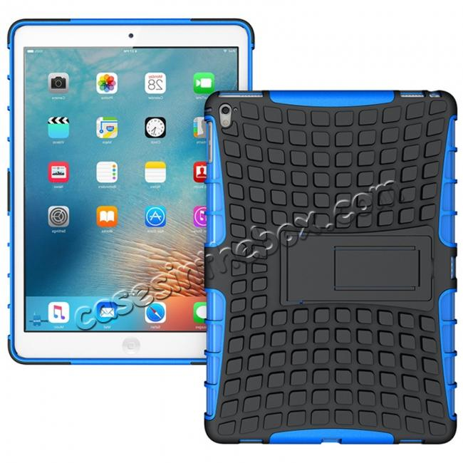 wholesale Heavy Duty Dual Layer Hybrid ShockProof Case Cover with Kickstand For iPad Pro 9.7inch - Blue