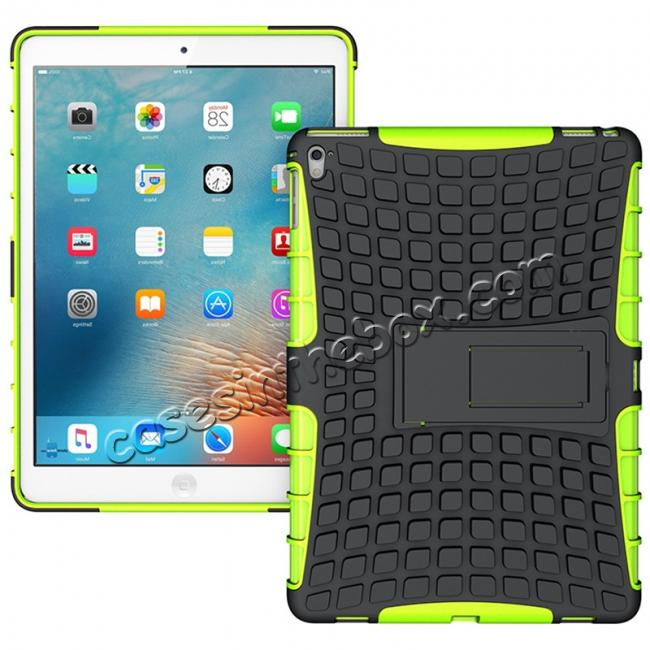 wholesale Heavy Duty Dual Layer Hybrid ShockProof Case Cover with Kickstand For iPad Pro 9.7inch - Green