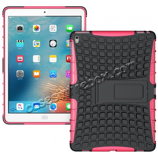 wholesale Heavy Duty Dual Layer Hybrid ShockProof Case Cover with Kickstand For iPad Pro 9.7inch - Hot pink