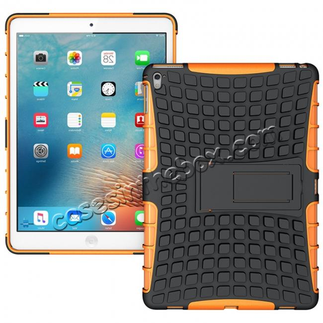 wholesale Heavy Duty Dual Layer Hybrid ShockProof Case Cover with Kickstand For iPad Pro 9.7inch - Orange