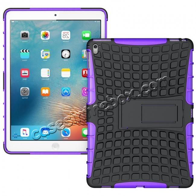 wholesale Heavy Duty Dual Layer Hybrid ShockProof Case Cover with Kickstand For iPad Pro 9.7inch - Purple