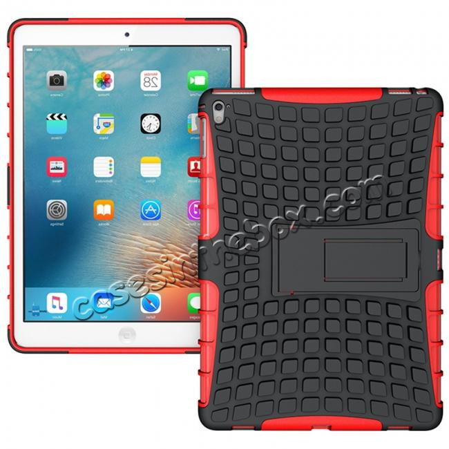 wholesale Heavy Duty Dual Layer Hybrid ShockProof Case Cover with Kickstand For iPad Pro 9.7inch - Red