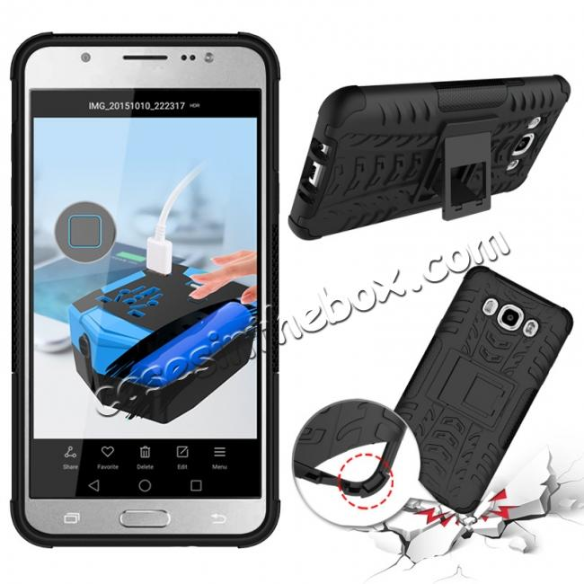 discount Hybrid Dual Layer Armor Defender Case with Stand For Samsung Galaxy J7 (2016) J710 - Black