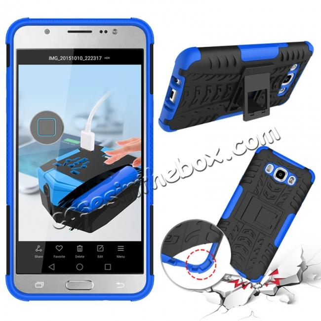 discount Hybrid Dual Layer Armor Defender Case with Stand For Samsung Galaxy J7 (2016) J710 - Blue