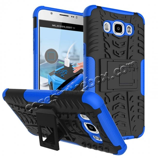 wholesale Hybrid Dual Layer Armor Defender Case with Stand For Samsung Galaxy J7 (2016) J710 - Blue