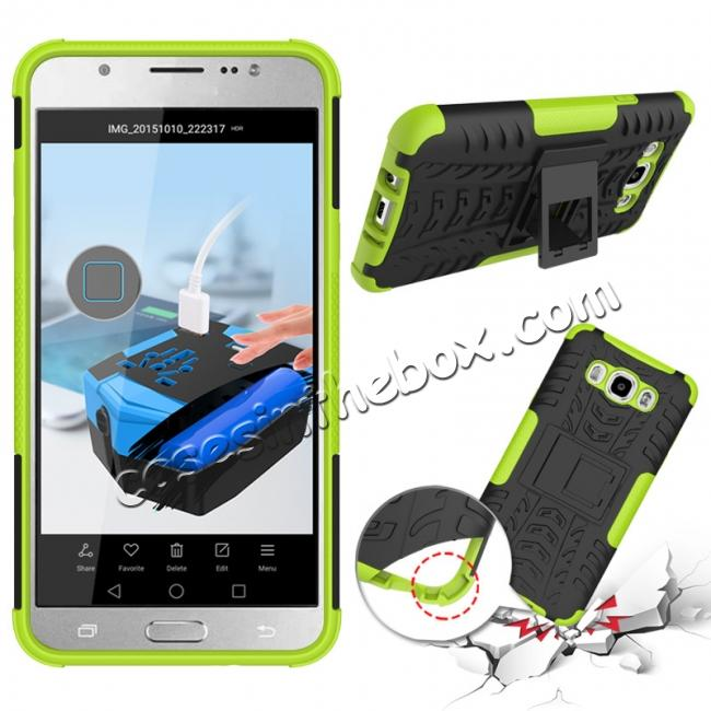 discount Hybrid Dual Layer Armor Defender Case with Stand For Samsung Galaxy J7 (2016) J710 - Green