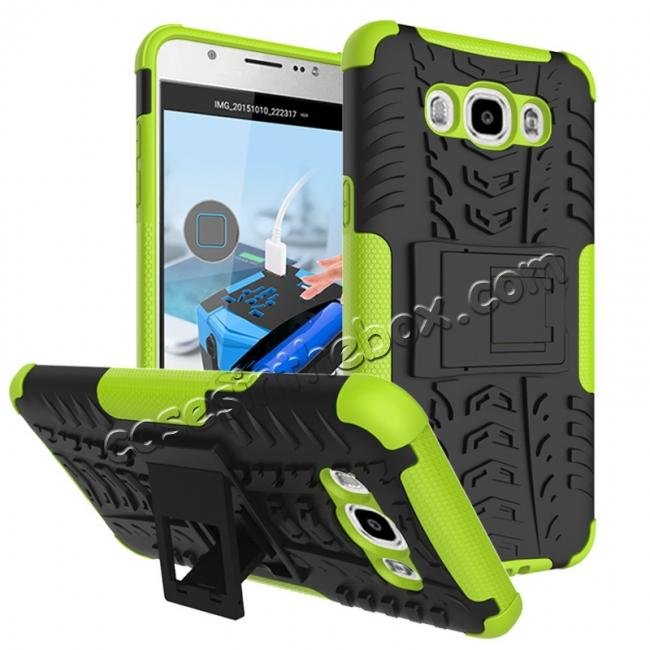 wholesale Hybrid Dual Layer Armor Defender Case with Stand For Samsung Galaxy J7 (2016) J710 - Green
